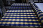 ROBERT ALLEN LAPIS BLUE TAN CHECK DRAPERY  HOME DECOR POLY FABRIC 60 W