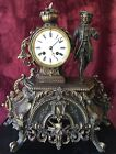 Antique Bronze French Figural Mantle Clock Free Shipping