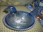 NICE CONFECTIONS BY INDIANA GLASS OHIO USA HEN ON NEST BLUE GLASS CANDY BOX DISH