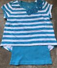 Justice Girls Layered Striped Shirt Aqua Blue White Lace Bling Flowers Size 8