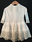 Antique Vintage Edwardian White Cotton and Lace Crochet Baby Toddler Doll Dress