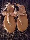 Ashley Blue Womens Carmel Colored With Gold Studs Thong Sandals Sz 9 NWOB