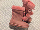GIRLS PINK DISNEY PRINCESS FALL WINTER BOOTS 8 TODDLER YOUTH NWT FAUX FUR POM PO