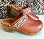 NEW SBICCA Hand Made In California Oldbriar TAN BROWN Leather Clogs Sz 10