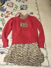 Gymboree Classroom Kitty Skirt Top Sweater And Ponytail Holder Size 7