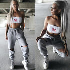 US Stock Women Casual High Waist Trousers Loose Pants Autumn Sporty Sweatpant