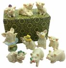 Pig Figurine Decor Collection  Set of 10 Miniature Statue Piglets Feng Shui