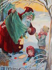 Antique Victorian Christmas Postcard Santa Claus Dumping Green Sack to Children