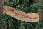 Primitive Colonial Country Burlap Merry Christmas Tree Garland Ribbon 10 ft