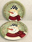 CERTIFIED INTERNATIONAL 2 PLATES  BY BECCA BARTON - GREEN WITH SNOWMAN
