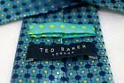 Ted Baker London Irridescent Blue Yellow Daisy Floral Polka Dot Silk Tie 58x325
