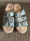 Dansko Serena Blue Daisy Leather Clog Sandals Womens EU 38