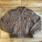 VINTAGE MEMBERS ONLY Brown LEATHER BOMBER JACKET 44 Mens