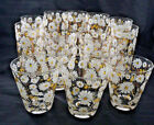 Mid-Century 14 pc CULVER LTD 22Kt Gold Tall/Low Cocktail Glasses w/ Daisy Design