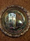 FENTON CARNIVAL RED GLASS 1971 CHRISTMAS PLATE (THE OLD BRICK )