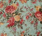Floral BTY Marie Osmond Quilting Treasures Pink Tan on Dusty Blue Damask