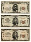 Three 1929 TN $5 Brown Seal National Currency Notes Lot 74