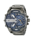 New Diesel Mr Daddy 2.0 Gunmetal Blue Chronograph 4 Time Zone Men's Watch DZ7331