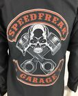 Red Kap Speed Freak Mens Custom Garage Shirt Mechanic L S Skull Gray Sz M NWT