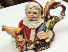 Fitz & Floyd Old Fashioned Christmas Santa Teapot With Toys and Children's Names