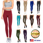 Womens Fleece Lined Leggings Warm Winter Thick Solid Colors Regular