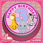 3RD BIRTHDAY CUTE PINK JUNGLE ANIMALS 19.1cm ROUND CAKE TOPPER RICE PAPER CC0251