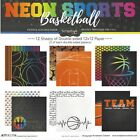 SC Basketball NEON Colors Scrapbooking Paper KIT 12 pages 12 Designs