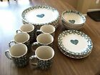 Tienshan Folk Craft Hearts Green Sponge Dinnerware 21 Pcs. Plates,Bowls, Cups