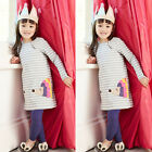 US Seller Casual Baby Kids Girls Long Sleeve Striped Cotton Party Clothes 2 7T