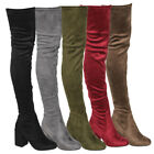 Womens Over The Knee Boots Thigh High Stretchy Snug Fit Zipper Block Heel