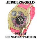 WOMEN'S ICED OUT HIP HOP PINK/GOLD ICE NATION BULLET BAND WATCH *NEW*