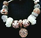 ROSE GOLD CHARMS BRACELET CRYSTAL HEARTS WHITE MURANO GLASS BUTTERFLY + Pouch