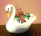 Fitz and Floyd Holiday Swan Lidded Box Christmas Candy Cookie Dish Trinket Box
