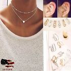 Simple Double Layers Chain Heart Pendant Necklace Choker Women Jewelry