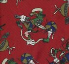 Disney Store Goofy Dad Tie Grill Tennis TV Hammer Basketball Red Silk