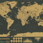 Black Color Deluxe Travel Scrape World Map Poster Traveler Vacation Log Gifts