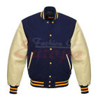 Varsity Letterman Navy blue Wool Body And Cream Real Leather Sleeves Jacket