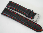 Carbon Leather Watch Band Strap Black 20mm with Red Stitching