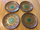 Vintage Set Of Four Glass Plates Hand-Painted Green,Purple,Gold; Gold Backing