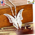 Women Fashion 925 Sterling Silver Plated Hollow Butterfly Pendant Necklace