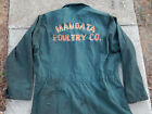 Vtg Distressed Mandata Poultry Co Chicken Farm Coveralls Green 44T Destroyed