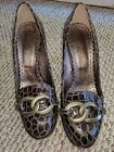 Juicy Couture Italy Made Womens 95 M Brown Leather Pumps Heels Shoes kp