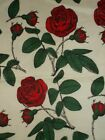 Fabric Flannel Cotton Red Roses Green Leaves and Stems