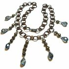 Awesome Blue Glass and Silver Tone Metal Junque Jewelry Necklace By SoniaMcD