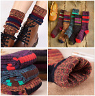 5 Pairs Women Combed Cotton Knee High Warm Thick Knit Multi color Boot Socks 5 9