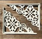 Set of 2 antique style White Cast Iron Shelf Brackets 7-3/8