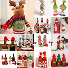 Lot Christmas Decorations Red Santa Tree Wine Bottle Cover Bag Dinner Party Gift