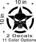 2x 10 Punisher Army Star decal Vinyl military hood graphic body Jeep Dodge