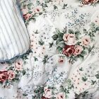 Waverly First Lady Pink Rose Floral Bouquet Reverse Blue Stripe Twin Comforter