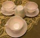 Vintage Federal Glass Moon Glow Iridescent Diamond Point 4 tea cups 3 saucers